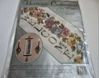 Counted Cross Stich Kit Pretty Pansy Welcome Banner Embroidery Kit Elsa Williams  Kit Decorative Wall Hanging Home Decor Needlecraft Kit