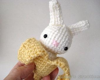 Banana Moon Bun - Amigurumi Bunny Rabbit with Removable Peel