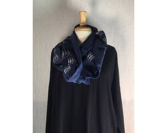 Infinity Boho Loop Circle Scarf -Storm Blue Linen w/ Winter Trees Art  Hand printed Scarves  Ready to Ship