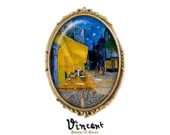 Brooch pin * night Café terrace * Vincent van Gogh table