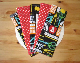 School Lunchbox Napkins (Set of 5) | Cloth Napkins, Eco Friendly Gifts, Napkins for Kids, Back to School Gifts, Reusable Napkins,