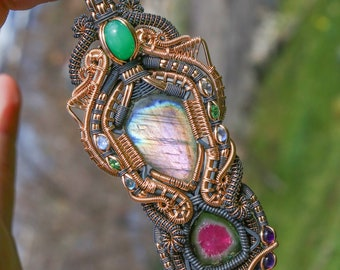 Pink Labradorite, Watermelon Tourmaline, and Chrysoprase Pendant