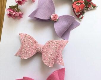 Handmade hair bows, medium size bows, toddler bows, girls bows, hair clip, chuchubows , felt bows, glitter bows,liberty london fabric bows