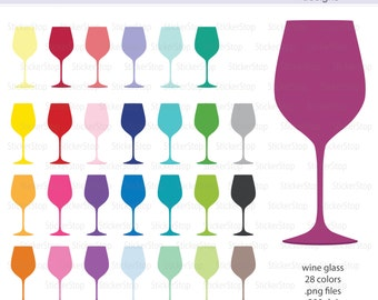 Wine Glasses Icon Digital Clipart in Rainbow Colors - Instant download PNG files