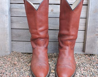 Mens Vintage Frye boots 11 D / 80s Frye  USA cowboy boots /  brown western boots