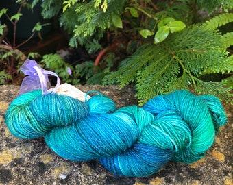 """100grms hand painted merino/nylon /stellina fingering weight yarn """" tree tops"""""""
