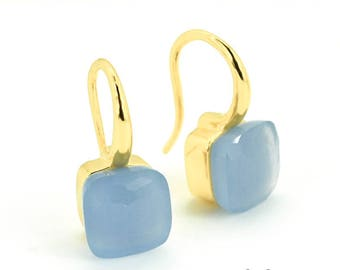 Blue Chalcedony Earrings | Chalcedony Dangle Earrings | French Hook Earrings | Blue Earrings | Gemstone Earrings | Everyday Jewelry | Gifts