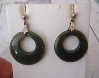 Vintage 26mm Jade Stone Hoop Earrings with Sterling Silver Findings and Pierced Posts