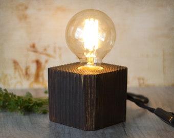 Wood lamp - Cube lamp - Pallet wood lamp - Edison lamp