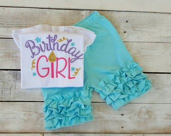 Girls Birthday shirt wmbroidered birthday shirt princess birthday shirt birthday girl outfit