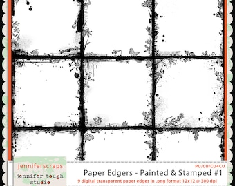 Instant Download - Set of 9 digital paper overlays/edgers - transparent png format- CU4CU ok