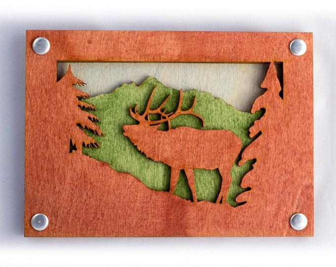 Elk Art - Rustic Wall Art - Mountain Wall Decor - Elk Scene - Mountain Decor - Mountain Home Art - Adventure Scene - Layered Wood Art