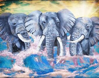 Elephants crashing through waves, original painting,art,modern art,elephant art,crimson tide,nature,ocean,elephants in water