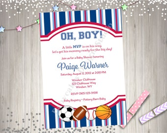 Sports Theme Baby Shower Invitation Invite MVP Baby Shower Sprinkle Party printable Invitation Boy Baseball Football Soccer basketball