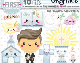 First Communion Clipart, 80%OFF, First Communion Graphics, Commercial Use, Boy Clipart, Boy First Communion, Cute