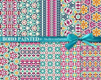 "Tribal digital paper : ""Boho Painted"", bohemian watercolor digital patterns, pink, blue, green, boho digital patterns, decoupage paper"