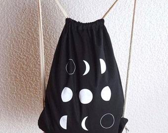 drawstring bag - moon phases - cotton gym bag - drawstring backpack - Cotton string bag - screen printed gym bag - Black gym bag