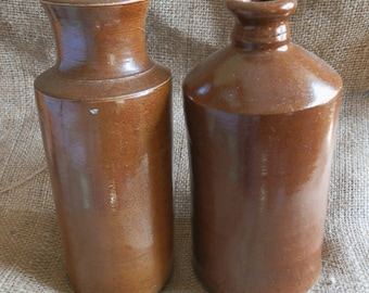 Two Large English Brown Antique Stoneware Bottles / Vessels c1890
