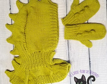 Dragon knitted hat &mitts