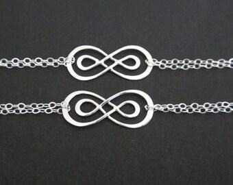 Set of 2: Two Sterling Silver Eternity Knot Bracelets. Two Sister Bracelet Set. Stering Silver Bridesmaid Bracelet Set. Bridal Jewelry.