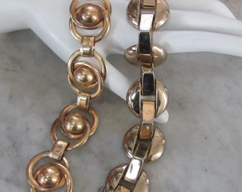 Lot-2 Vintage 1940's RETRO-DECO GEOMETRIC Modernist Link Bracelets H.S.B. Gold-Filled