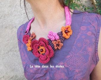 Crochet bouquet of flowers asymmetrical necklace