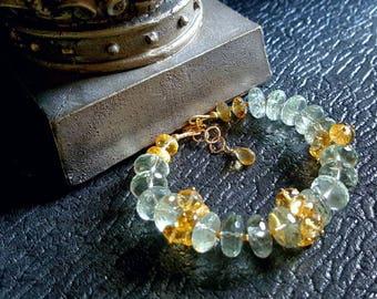 Spring Sale 15%Natural Prasiolite and Golden Citrine Gemstone Cluster Bracelet on Gold Fill February Birthstone Gift For Her