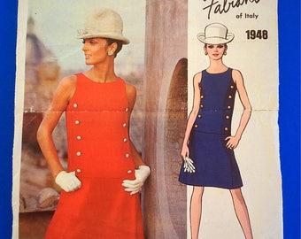 "60s MOD Fabiani Designer Dress, Size 12, Bust 34"", Vogue Couturier Design, Fabiani of Italy 1948."