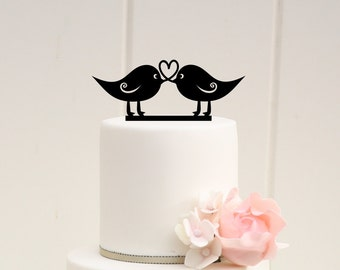 Love Birds Wedding Cake Topper Heart Design Rustic Cake Topper