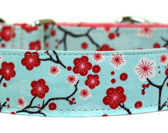 Cherry Blossoms Dog Collar - New Puppy Collar - Blue Dog Collar - Designer Dog Collar - Fashion Dog Collar - Pet Accessories - Buckle Collar