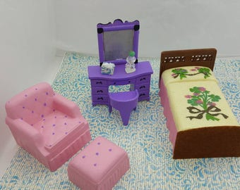 Renwal Bed Superior Vanity Marx Mansion chair and ottoman  Doll House Toy  miniature Bedroom hard plastic