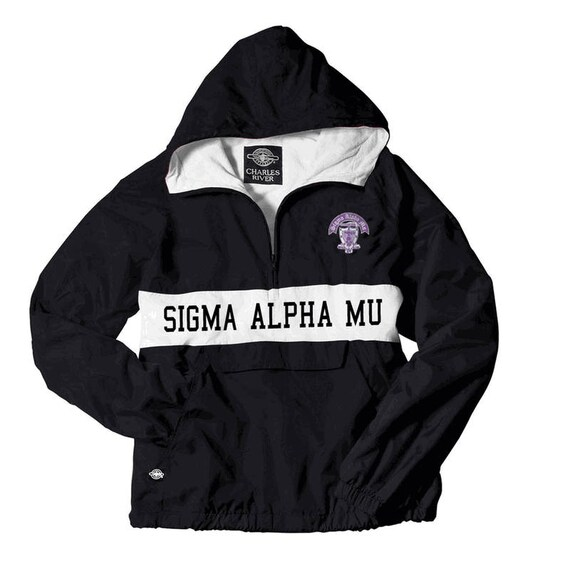 Sigma Sigma Sigma Charles River Custom Stripe Greek Pullover Anorak (black print shown) sAftrJuyM