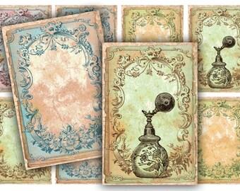 Antique Perfume Tags Digital Collage Sheet Download - 540 - Digital Paper - Instant Download Printables