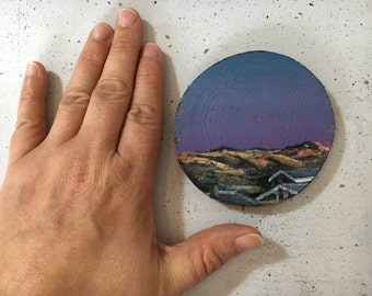 Sunrise in Denmark on wood - wooden disk painted with acrylic paint