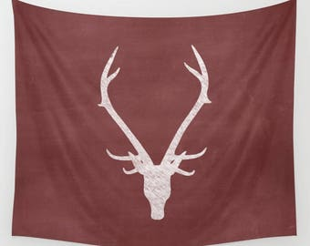 Deer Antler Tapestry, Rustic Christmas Decor, Holiday Decorations, Red Wall Tapestry, Christmas Gift Ideas, Gifts for Her, Gifts for Him