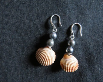 Pearls and shell earrings