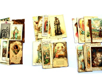 Bundles of antique holy cards (1900 to 20s), set of 16  French religious images, devotional images