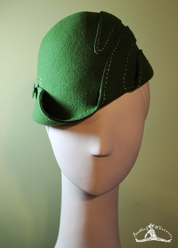 Cloche Hat - Women's Wool Swirl Hat - Moss Green Sculpted - Vintage Inspired - 1930s 1940s Style Cloche Hat - OOAK