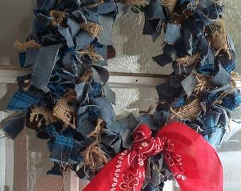 Denim & Flannel Burlap Wreath