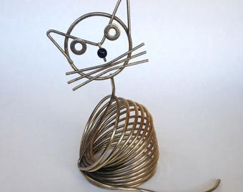 Vintage 1950s Wire Cat Letter Holder Made from Metal Spring Desk Accessory