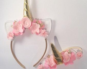 Baby Headband Set - Baby Girl First Birthday Unicorn Headband Set