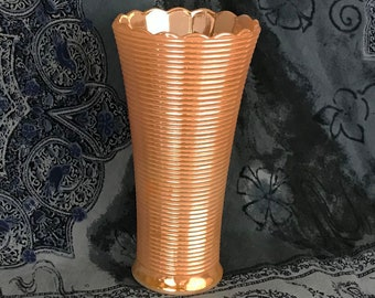 Ribbed Mid Century Peach Luster Glass Vase