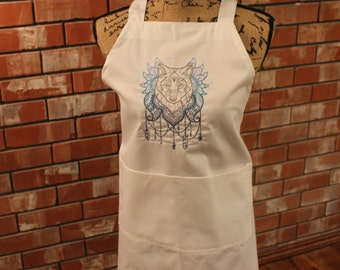 Blue and Grey Wolf Apron