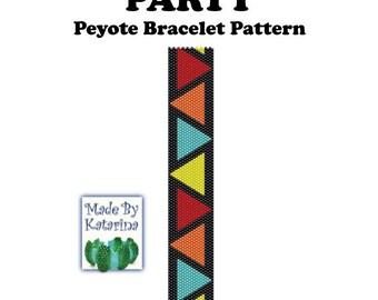 Peyote Pattern - Party - INSTANT DOWNLOAD PDF - Peyote Stitch Bracelet Pattern - Geometric Pattern - Triangle Pattern - One Drop Even Peyote