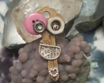 happy hippie upcycled key pendant