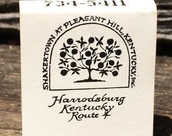 Shakertown Mt Pleasant Hill Kentucky match book, Shaker Village