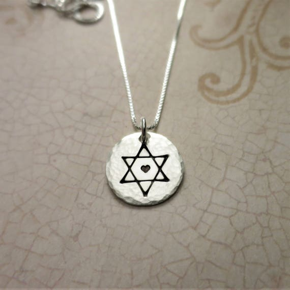 Star of David Necklace - Jewish Star Necklace - Hand Stamped Magen David - Sterling Silver Star of David Necklace - Jewish Star with Heart