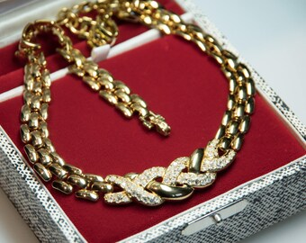 LANVIN PARIS 1980's Gold Plated Chain Necklace with clear crystal stones. Perfect vintage jewelry. Halskette 80s
