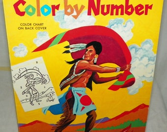 Rare Vintage Whitman ABC Color by Number Coloring Book 1963