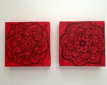Set of Mandalas on Cherry Canvases